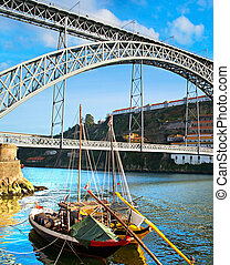 Porto landmarks, Portugal - Traditional wine boats and Dom...