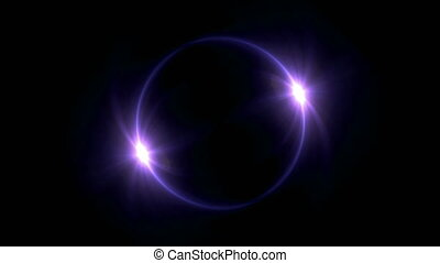 purple Solar eclipse in space concept with ring flare - The...