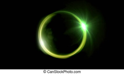 green Solar eclipse ring flare