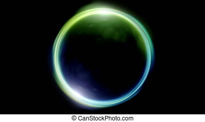 green blue Lens ring flares crossing of circle shape - The...