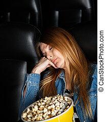 sueño, aburrido, mujer, teatro, cine