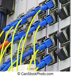 fiber optical network cables patch panel