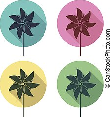 vector pinwheel flat icons - vector colorful pinwheel flat...