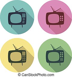vector retro tv set flat colorful icons
