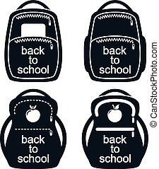 vector black and white collection of school backpack icons