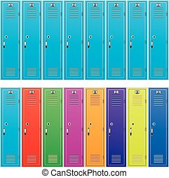 vector background of colorful school lockers