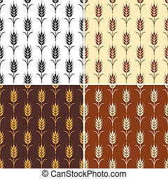 vector collection of seamless repeating wheat patterns
