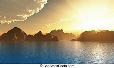landschaftlich, Inseln, Ansicht, während,  sunse