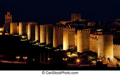Avila at night, Castile and Leon, Spain