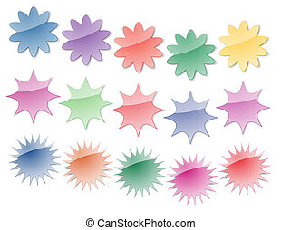 Starburst Stickers in Bright Colors, perfect for...