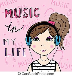 Girl listening to the music.