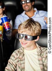 Happy Boy Watching 3D Movie At Theater