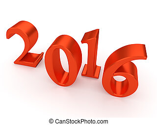 2016 new year - Color numbers of New Year 2016 with shadow