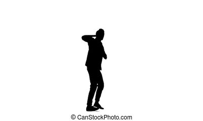 Young, stylish man continue doing brake dancing movements, on white, slow motion, silhouette
