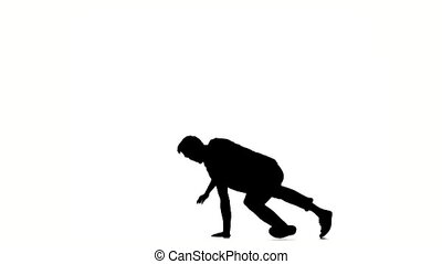B-boy style dancer performing, on a white background, slow...