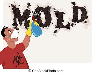 Killing mold - Man in a respiratory mask with a bio-hazard...