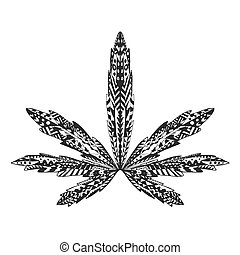 Zentangle stylized marijuana leaf Sketch for tattoo or...