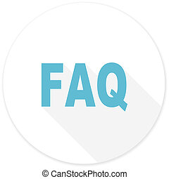 faq flat design modern icon with long shadow for web and...