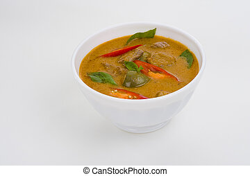 red curry in a white bowl - delicious thai food: red curry...