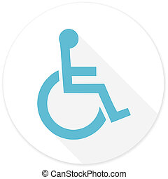 wheelchair flat design modern icon with long shadow for web...
