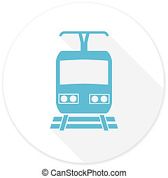 train flat design modern icon with long shadow for web and...