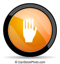 stop orange icon hand sign