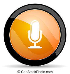 オレンジ, マイクロフォン,  podcast, アイコン, 印