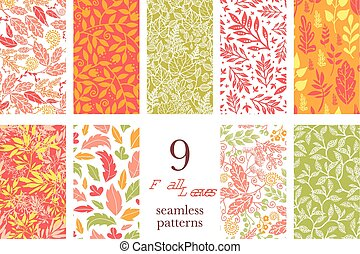 Vector Fall Leaves Nine Set Seamless Patterns - Vector Fall...