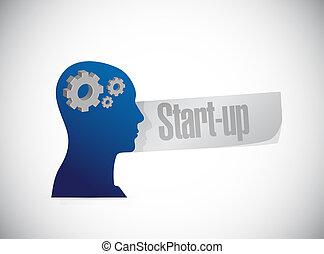 Start-up brain sign concept illustration design artwork