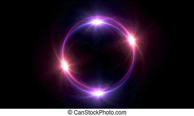 red Solar eclipse in space concept with ring flare - The...