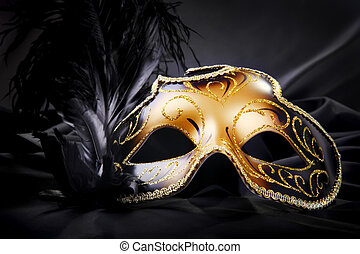 Carnival mask on black silk background - Ornate carnival...