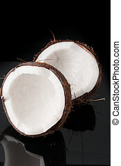 Coconut broken in half