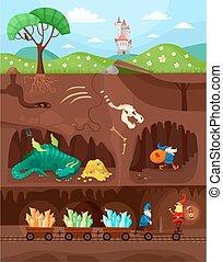 catacomb world - illustration of a fantasy underground world