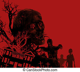 Zombies on red. - Zombies walking on a red background with...