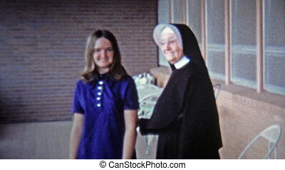 1971: Catholic nun blessing young - Unique vintage 8mm film...
