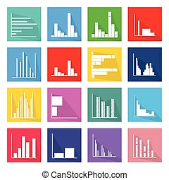 Collection of 16 Bar Chart Icons Banner