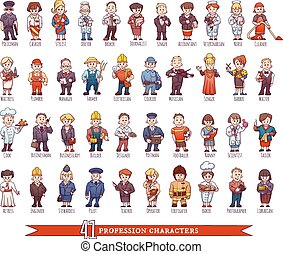 Vector set of business people, such as policeman, doctor,...