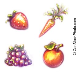 Set of fruits and vegetables. Straw