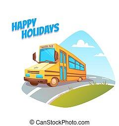 Vector illustration of school bus o