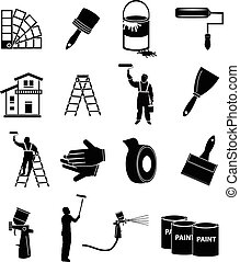 House painter icons set in black.