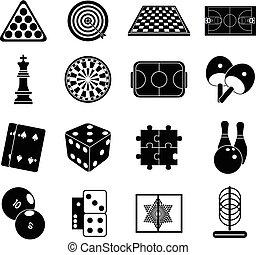 Indoor games icons set