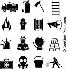 firefighter icons set in black.