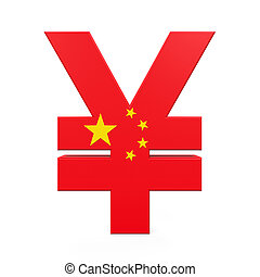 Chinese Yuan Symbol isolated on white background 3D render