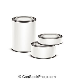 White tin box packaging container tea coffee isolated vector...