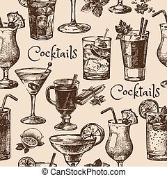 Hand drawn sketch seamless pattern of alcoholic cocktails...