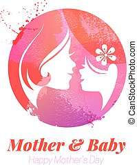 Vector watercolor effect illustration of mother silhouette