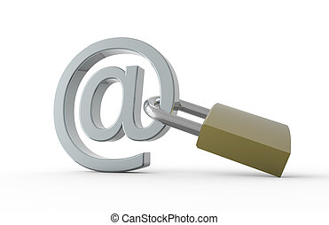 Padlock with e-mail symbol: Safe internet concept