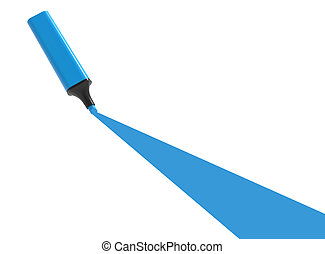 Blue highlighter with underline isolated on a white...