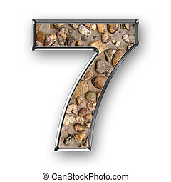 Number 7, STONEWALL - number 7, textured stonewall, with...