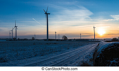 Windfarm - Field with Wind Turbines on a cold winter Day